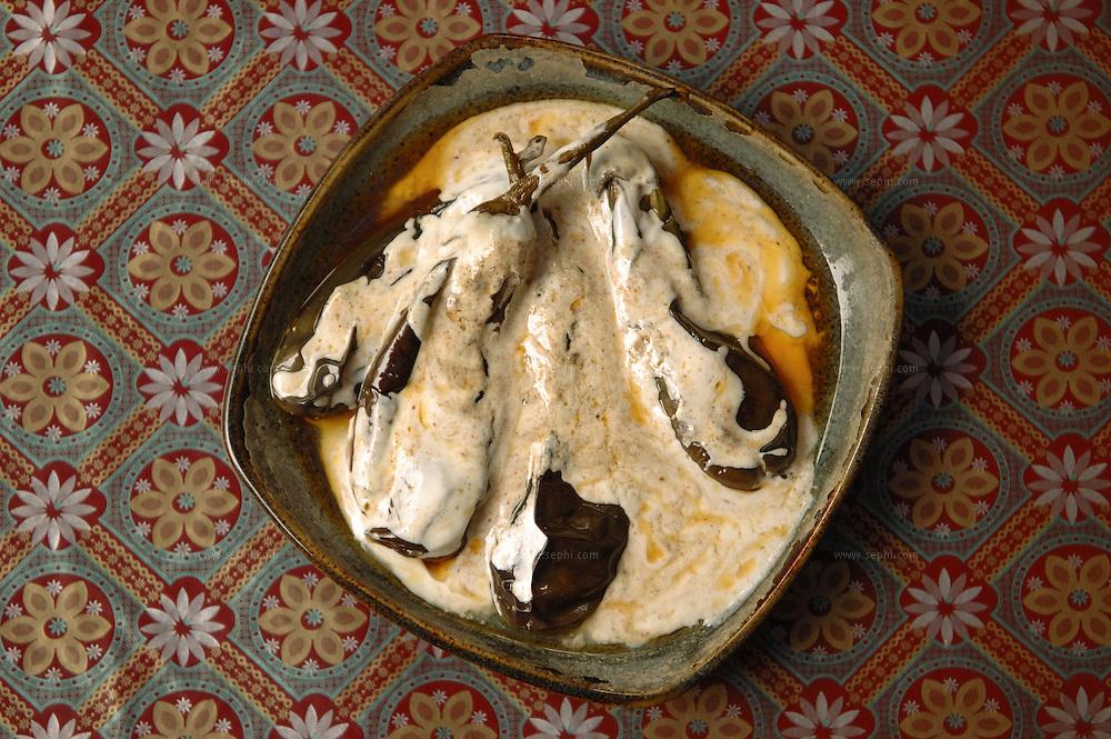 Baigan Dahi - Eggplant in yogurt .( Recipe available upon request )