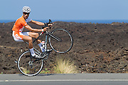 Global Media joined Oakley for a lens tint experience before the 2013 Ironman World Championships in Kona, Hawaii. Antonio del Pino from Spain enjoys his experience of riding along the Queen K highway days before the athletes take on the same route. Image by BeadlePhoto/Oakley