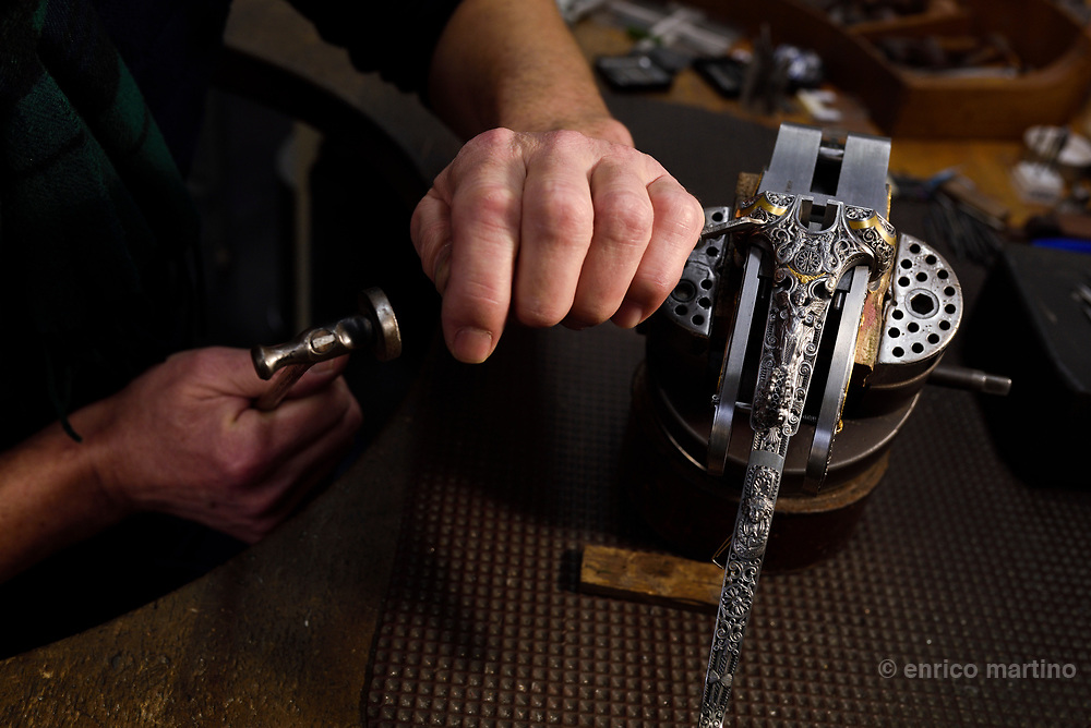 Gerhard Orou one of the best engravers of Ferlach gunsmiths. The rifles made in the small village of Ferlach are renowned for their precision, as beautiful as museum pieces when they leave the workshop, yet destined for practical use.