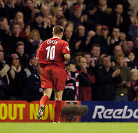 Photo. Jed Wee.<br /> Liverpool v Aston Villa, FA Barclaycard Premiership, Anfield, Liverpool. 10/01/2004.<br /> Liverpool's Michael Owen is substituted after a patchy display in his first game back from injury.