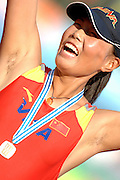 Beijing, CHINA. A Finals, CHN JW2X  Bow, Rui XU, celebrates with her gold medal after winning the final of the Junior women's double scullI, at  the  2007. FISA Junior World Rowing Championships,  Shunyi Water Sports Complex. 11/08/2007 [Photo, Peter Spurrier/Intersport-images]..... , Rowing Course, Shun Yi Water Complex, Beijing, CHINA,