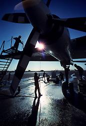 Aircraft maintenance at the King Khaled International Airport in Riyadh, Saudi Arabia.