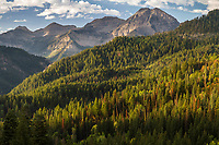 Mount Timpanogos as seen from American Fork Canyon during Fall in Utah at sunrise.