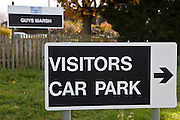 The visitors car park sign outside Guys Marsh. HMP Guys Marsh is a category C prison in Dorset housing 578 prisoners.