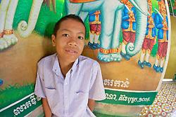 Young Boy At Phnom Sampeau Pagoda