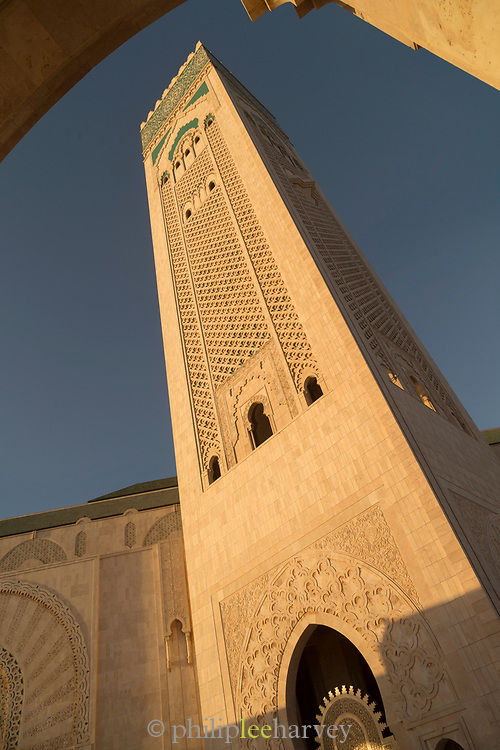 Low angle view of Hassan II Mosque tower in Casablanca, Morocco