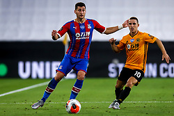 Joel Ward of Crystal Palace takes on Daniel Podence of Wolverhampton Wanderers - Mandatory by-line: Robbie Stephenson/JMP - 20/07/2020 - FOOTBALL - Molineux - Wolverhampton, England - Wolverhampton Wanderers v Crystal Palace - Premier League