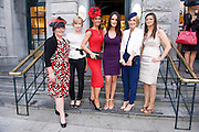 Milliner Suzie O Mahony, Lisa ? BT, Runner up in the Hotel Meyrick Best Dressed lady Competition Eva Morrissey, Castletroy, Co. Limerick Model and Judge Andrea Roche and Winner Orla Sheridan from Foxford Co. Mayo and Sarah McNamara Hotel Meyrick  at Hotel Meyrick in Eyre Sq. Galway during Galway's Race week . Photo:Andrew Downes