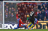 Yaya Toure of Manchester City shoots to score his sides 1st goal. Premier League match, Crystal Palace v Manchester city at Selhurst Park in London on Saturday 19th November 2016. pic by John Patrick Fletcher, Andrew Orchard sports photography.