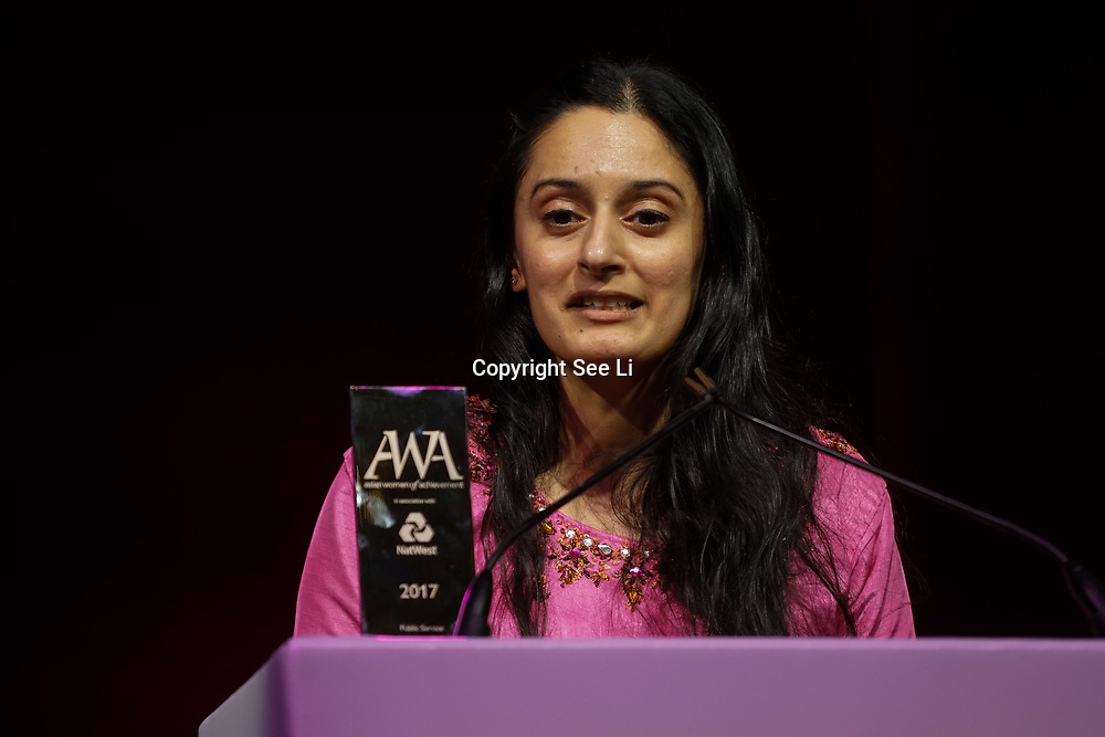 London, UK. 10th May 2017. Public Service award to Dr Harjinder Kaur at The Asian Women of Achievement Awards 2017 at the London Hilton on Park Lane Hotel. Photo by See li Credit: See Li