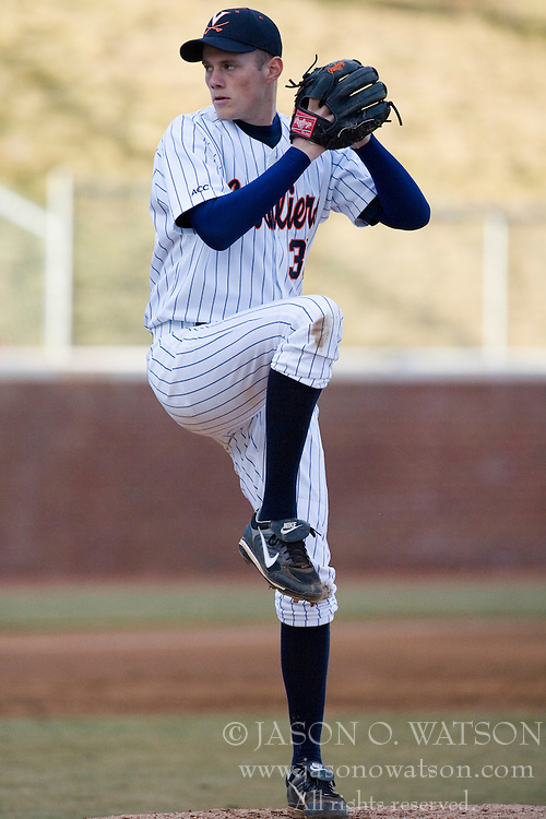 Virginia Cavaliers pitcher Neal Davis (39) pitching against VMI.  The Virginia Cavaliers Baseball Team defeated the Virginia Military Institute Keydets 5-3 at Davenport Field in Charlottesille, VA on February 27, 2007.