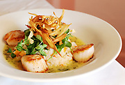 COTUIT -- 111710 -- Chef Weldon Fizell's caramelized Georgeís Bank sea scallops with roasted butternut squash risotto topped with pea tendrils, crisp Parsnips in a herb butter sauce.<br /> Cape Cod Times/Christine Hochkeppel 111710ch08