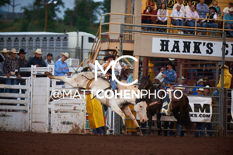 Bareback rider Cody DeMers of Kimberly, ID rides Glorius at the Pikes Peak or Bust Rodeo in Colorado Springs, CO.<br /> <br /> <br /> UNEDITED LOW-RES PREVIEW<br /> <br /> <br /> File shown may be an unedited low resolution version used as a proof only. All prints are 100% guaranteed for quality. Sizes 8x10+ come with a version for personal social media. I am currently not selling downloads for commercial/brand use.