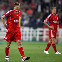 Photo: Paul Thomas.<br /> AC Milan v Liverpool. UEFA Champions League Final. 23/05/2007.<br /> <br /> Dejected Steven Gerrard after Milano score.