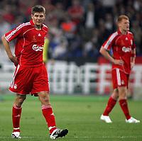 Photo: Paul Thomas.<br /> AC Milan v Liverpool. UEFA Champions League Final. 23/05/2007.<br /> <br /> Dejected Steven Gerrard after Milano score.
