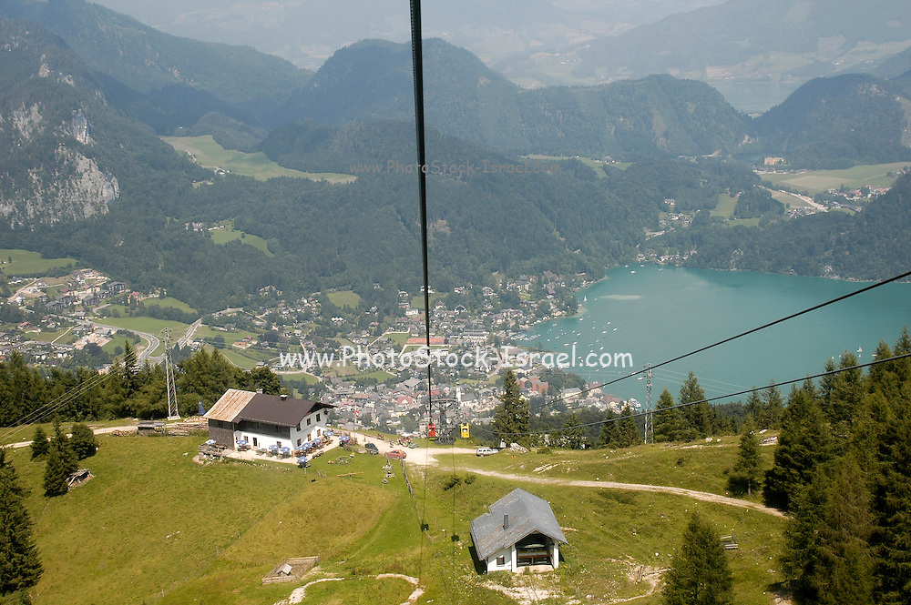 Austria, Upper Austria, Salzburg, St. Gilgen and Lake Wolfgang, in the Dachstein Mountains. A scenic view from the mountain top