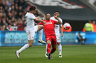 Nathaniel Clyne of Liverpool © is challenged by Neil Taylor of Swansea city.Barclays Premier league match, Swansea city v Liverpool  at the Liberty Stadium in Swansea, South Wales on Sunday 1st May 2016.<br /> pic by  Andrew Orchard, Andrew Orchard sports photography.