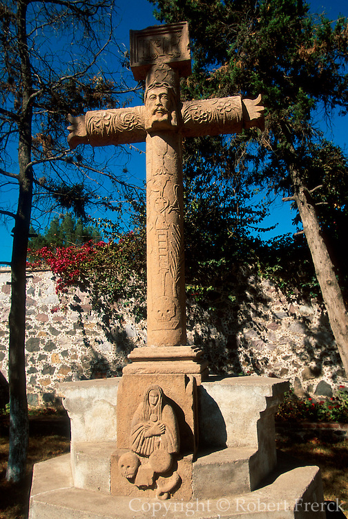 MEXICO, COLONIAL ARCHITECTURE Acolman, c.1544, fortress convent north of Mexico City, near Teotihuacan with famous carved stone cross