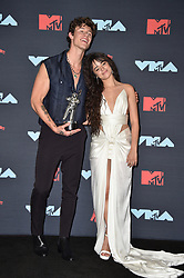 Camila Cabello, Shawn Mendes pose in the Press Room during the 2019 MTV Video Music Awards at Prudential Center on August 26, 2019 in Newark, NJ, USA. Photo by Lionel Hahn/ABACAPRESS.COM