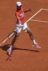 May 9, 2019 - Madrid, Spain - Novak Djokovic of Serbia against Jeremy Chardy of France during day six of the Mutua Madrid Open at La Caja Magica on May 09, 2019 in Madrid, Spain  (Credit Image: © Oscar Gonzalez/NurPhoto via ZUMA Press)