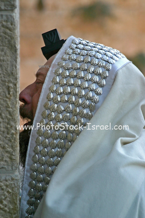 Israel, Jerusalem Jewish man deep at prayer At the wailing wall, Jerusalem