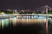 Passerelle du Palais de Justice footbridge at night, Lyon, France (UNESCO World Heritage Site)