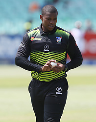 Sisanda Magala of the Warriors during the T20 Challenge cricket match between the Lions and the Warriors at the Kingsmead stadium in Durban, KwaZulu Natal, South Africa on the 4th December 2016<br /> <br /> Photo by:   Steve Haag / Real Time Images