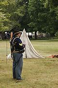 USA, Oregon, Brooks, Willamette Mission State Park, Union Cavalry sergeant briefing his men.