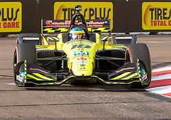 March 10, 2019 - St. Petersburg, FL, U.S. - ST. PETERSBURG, FL - MARCH 10: Dale Coyne Racing with Vasser-Sullivan driver Sebastien Bourdais (18) of France during the IndyCar Series - Firestone Grand Prix Race on March 10 in St. Petersburg, FL. (Photo by Andrew Bershaw/Icon Sportswire) (Credit Image: © Andrew Bershaw/Icon SMI via ZUMA Press)