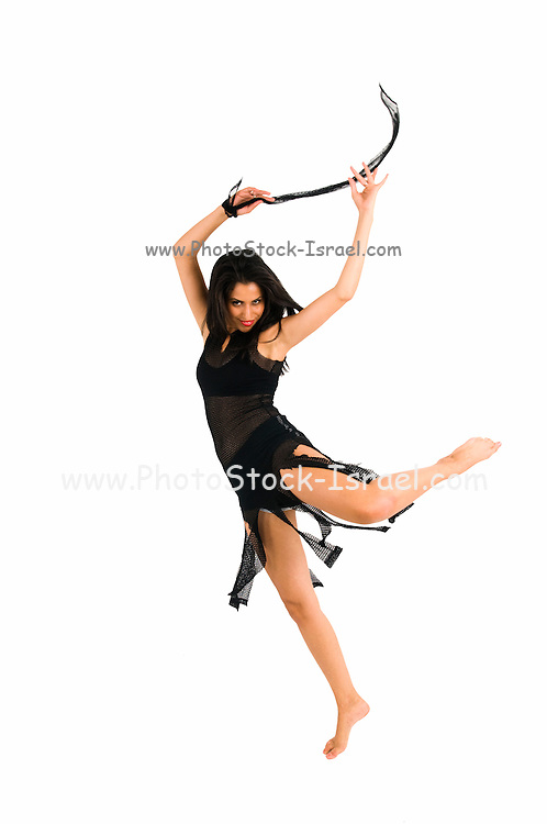 Sexy woman dances on white background