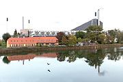 CopenHill located on the Amager Island in Copenhagen. Seen from Krudtløbsvej street.