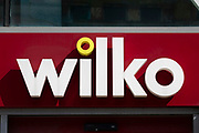 A large store front sign for British high street brand Wilko on 2nd September, 2021 in Leeds, United Kingdom. Wilko is a British high street retail chain that specialises in homeware and household goods.