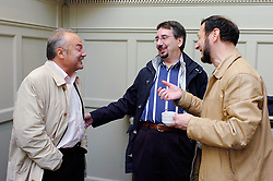 l to r :  George Galloway MP,   John Rees, General secretary Respect Party ;  Boris Kagarlitsky, Director, IPROG<br /> at the Bishopsgate Institute, London<br /> October 13, 2005 <br /> BP Target Anglo-Russian Campaign meeting<br /> <br /> Photographer ELLIOTT FRANKS