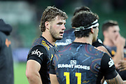 Chiefs Nathan Harris reacts during the Round 1 Trans-Tasman Super Rugby match between the Western Force and the Waikato Chiefs at HBF Park in Perth, Sunday, May 16, 2021. (AAP Image/Trevor Collens) NO ARCHIVING, EDITORIAL USE ONLY