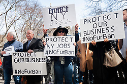 March 28, 2019 - New York, New York, United States - On Thursday, March 28th,  a coalition of fur store owners and fur trade employees gathered outside City Hall in New York City to protest the introduction of a bill that would prohibit the sale of fur apparel in New York City.  A similar bill was introduced in the New York State Assembly which would ban the sale statewide. (Credit Image: © Gabriele Holtermann Gorden/Pacific Press via ZUMA Wire)