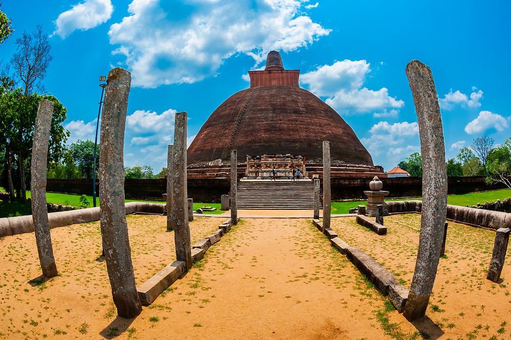 Jetavanaramaya Stupa, Anuradhapura, Sri Lanka. Anuradhapura is one of the ancient capitals of Sri Lanka, famous for its well-preserved ruins of an ancient Sri Lankan civilization.