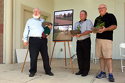 10 May 2014:  Garrett Scott and other honored individuals at 25th anniversary celebration of the Constitution Trail ceremony at Connie Link Amphitheater in Normal Illinois