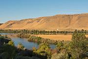 Snake River winding through Hagerman valley along Ritter Island at Thousand Spring, Southern, Idaho.