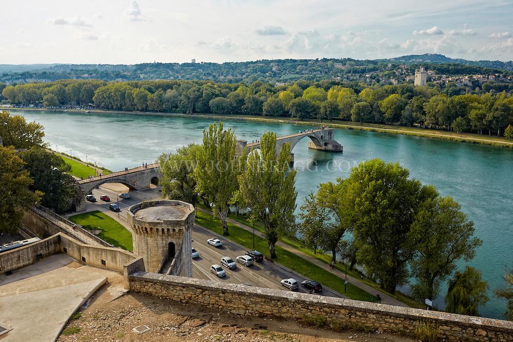 View of the St. Bènezet Bridge with lle de la Barthelasse in the foreground, Avignon, France.