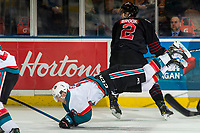 KELOWNA, CANADA - JANUARY 16:  Josh Brook #2 of the Moose Jaw Warriors gets a kneeing penalty after a hit on Michael Farren #16 of the Kelowna Rockets on January 16, 2019 at Prospera Place in Kelowna, British Columbia, Canada.  (Photo by Marissa Baecker/Shoot the Breeze)