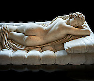 """Sleeping Hermaphroditus, The Borghese Hermaphrodite.  A Life size ancient 2nd century AD Roman statue sculpted in Greek Marble and found in the grounds of Santa Maria della Vittoria, near the Baths of Diocletian, Rome. It was added to the Borghese Collection by Cardinal Scipione Borghese, in the 17th century and was named the """"Borghese Hermaphroditus"""". It was later sold to the occupying French and was removed it to The Louvre. Hermaphrodite, son of Hermes and Aphrodite had repels the advances of the nymph Salmacis. However, she got Zeus as their two bodies are united in a bisexual being. The Sleeping Hermaphroditus has been described as a good early Imperial Roman copy of a bronze original by the later of the two Hellenistic sculptors named Polycles (150 BC) the original bronze was mentioned in Pliny's Natural History. In 1619  Bernini sculpted the mattress on which the ancient marble of Hermaphrodite lies. Louvre Museum, Paris"""