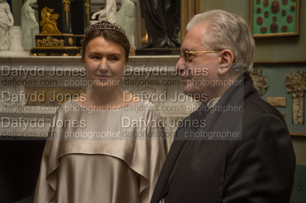 INNA BAZHENOVA; PROFESSOR MIKHAIL PIOTROVSKY; Professor Mikhail Piotrovsky Director of the State Hermitage Museum, St. Petersburg and <br /> Inna Bazhenova Founder of In Artibus and the new owner of the Art Newspaper worldwide<br /> host THE HERMITAGE FOUNDATION GALA BANQUET<br /> GALA DINNER <br /> Spencer House, St. James's Place, London<br /> 15 April 2015