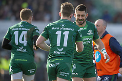March 2, 2019 - Galway, Ireland - Matt Healy of Connacht celebrates scoring with Tiernan O'Halloran during the Guinness PRO 14 match  between Connacht Rugby and Ospreys at the Sportsground in Galway, Ireland on March 2, 2019  (Credit Image: © Andrew Surma/NurPhoto via ZUMA Press)