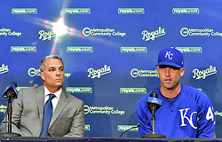 August 29, 2017 - Kansas City, MO, USA - Kansas City Royals general manager Dayton Moore listens to starting pitcher Danny Duffy, right, talk about being cited for a DUI during a news conference at Kauffman Stadium in Kansas City, Mo., before a game against the Tampa Bay Rays on Tuesday, Aug. 29, 2017. (Credit Image: © John Sleezer/TNS via ZUMA Wire)