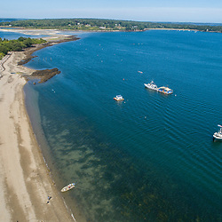 Boats anchored off of Little Chebeague Island in Casco Bay, Portland, Maine.