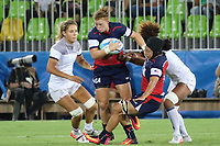 August 08, 2016; Rio de Janeiro, Brazil; USA Women's Eagles Sevens Alev Kelter charges through the against the French defense during the Women's Rugby Sevens 5th Place Play-Off match on Day 3 of the Rio 2016 Olympic Games at Deodoro Stadium. Photo credit: Abel Barrientes - KLC fotos