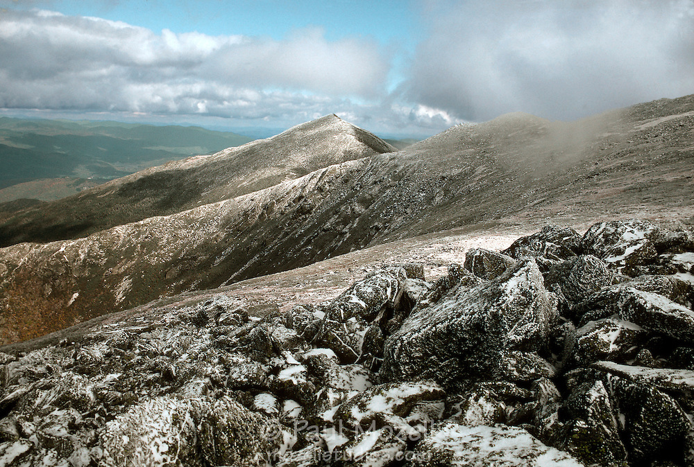 Snowfall in early October above King Ravine with Mt. Madison in the background. Presidential Range, NH