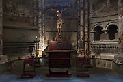 Chapel with statue of Christ on the Crucifix in Roman Catholic Cathedral of Avila, Cathedral de Avila, Spain