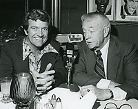 1978 Radio commentator and interviewer, Gregg Hunter, seen interviewing Les Tremayne during his KIEV radio show at the Brown Derby Restaurant on Vine St. in Hollywood