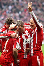 12.03.2011, Allianz Arena, Muenchen, GER, 1.FBL, FC Bayern Muenchen vs Hamburger SV, im Bild  Jubel nach dem 3-0 durch Arjen Robben (Bayern #10)mit Franck Ribery (Bayern #7) Mario Gomez (Bayern #33) Bastian Schweinsteiger (Bayern #31)  , EXPA Pictures © 2011, PhotoCredit: EXPA/ nph/  Straubmeier       ****** out of GER / SWE / CRO  / BEL ******